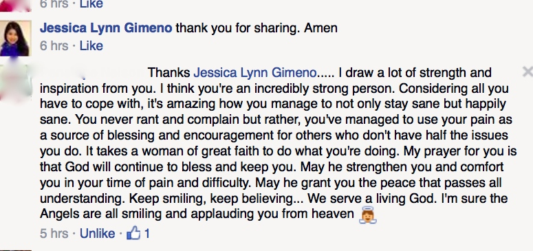 One Reader That Encouraged Me on Facebook