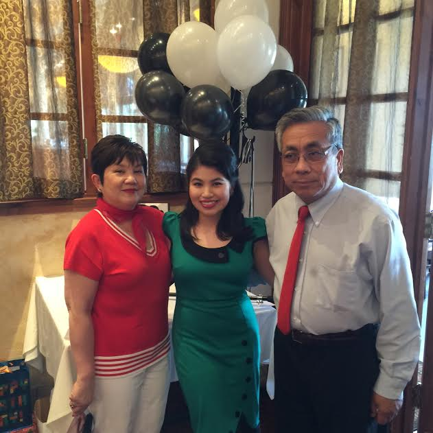 with my mom and dad