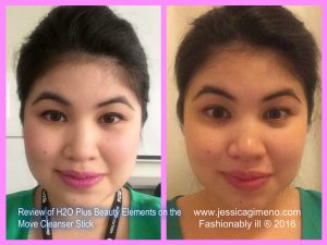 Before and After Washing My Face with H2O Plus Beauty Elements on the Move Cleansing Stick
